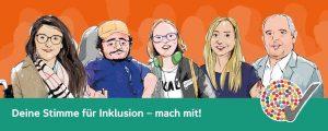 """Zeichnung mit 5 Personen: """"Deine Stimme für Inklusion - mach mit!"""""""