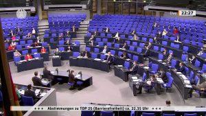 Bild von der Bundestagsdebatte zum Barrierefreiheitsstärkungsgesetz am 20.5.2021