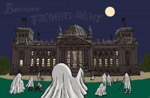 Zeichnung: Geister vor dem Reichstag in der Nacht