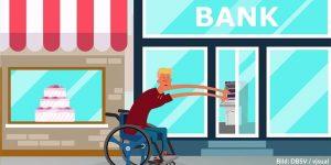 Rollstuhlnutzer*in vor Bank mit Stufen mit langgezogenen Armen