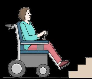 Zeichnung einer Rollstuhlfahrerin vor einer Treppe