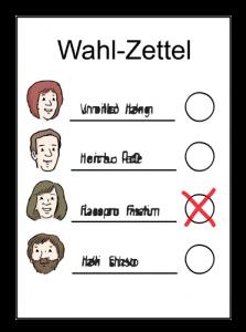 Zeichnung eines Wahlzettels